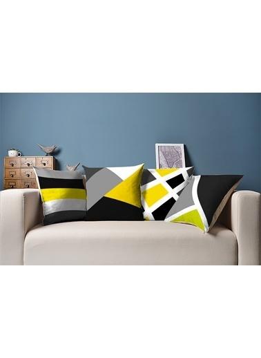 Tezkotekstil Soyut Şerit 4'Lü Kombin Dekoratif Yastık Kırlent Kılıfı Renkli